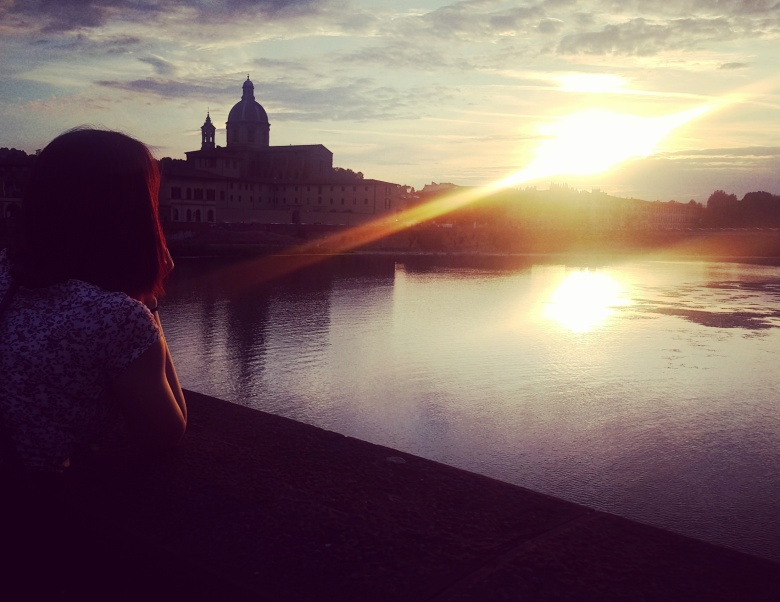 sunset at River Arno