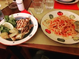 Pasta al Pomodoro and grilled chicken with roast potatoes