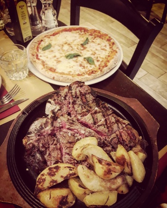 Pizza and steak