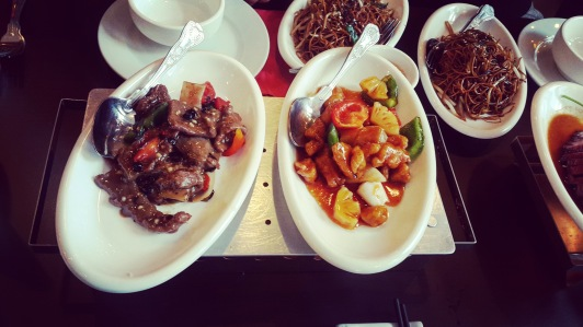 Beef in black bean sauce and sweet and sour chicken
