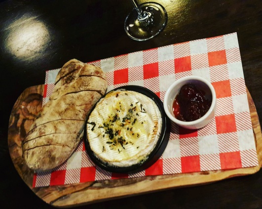 Baked Camembert with Garlic and Rosemary. Toasted Ciabatta and Chilli and Onion Chutney
