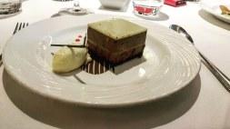 dark chocolate mousse cake with praline surprise
