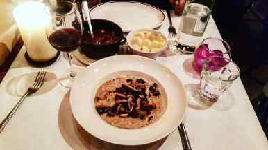 Wild mushroom risotto and beef bourguignon