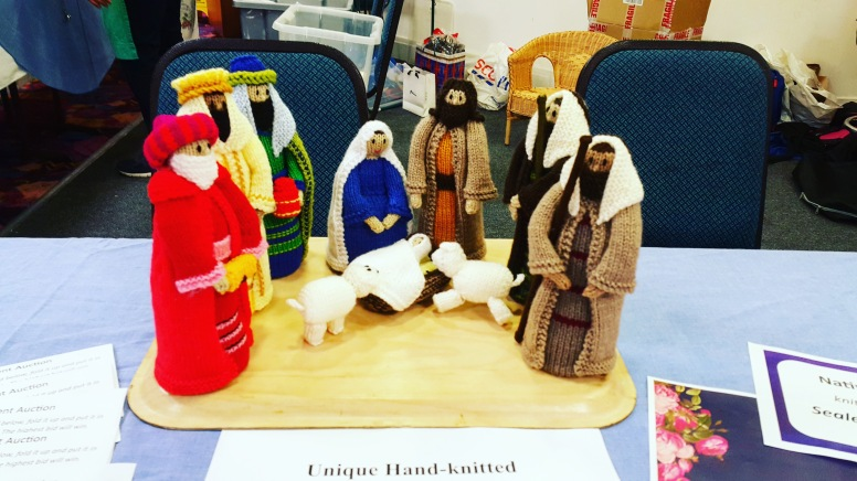 Hand-knitted nativity